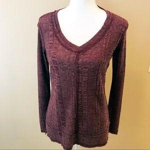 💥Copper Key Long Sleeves Raw Edge Sweater